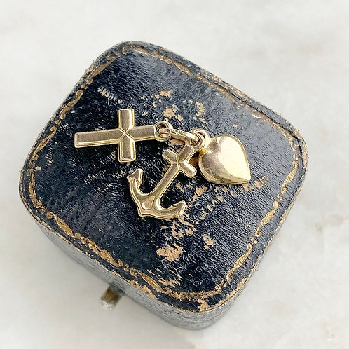 Vintage 9ct gold faith, hope and charity charm