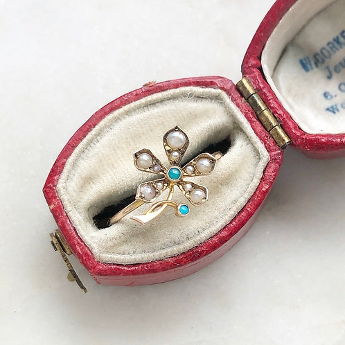 Antique seed pearl, turquoise and gold flower ring