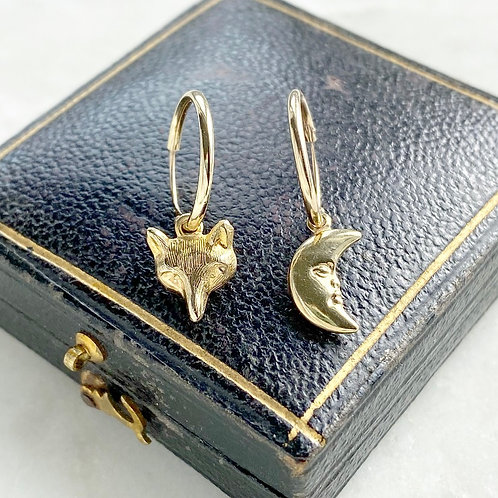Vintage gold fox and man in the moon charm hoops