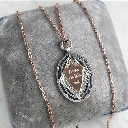 Vintage engraved 'Love guides me' silver and rose gold fob with chain necklace