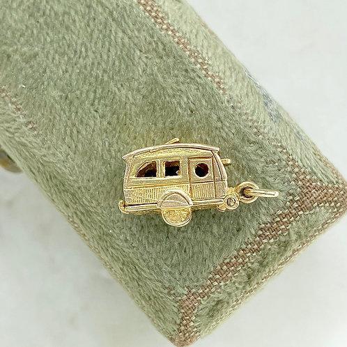 Vintage 1964 9ct gold opening caravan/trailer charm