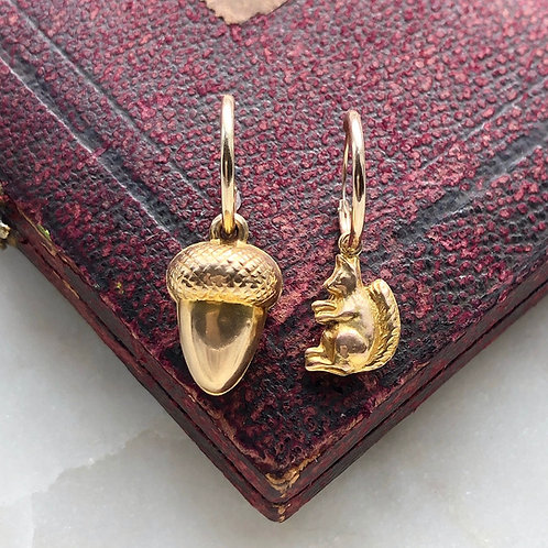 Vintage gold acorn and squirrel charm hoops
