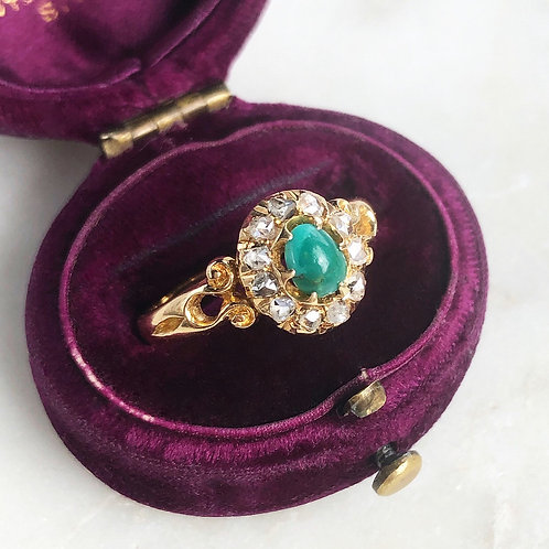 Antique Victorian 18ct gold turquoise and rose cut diamond halo ring