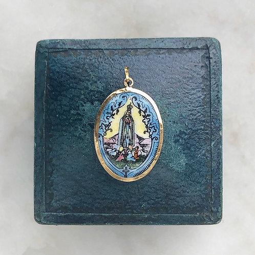 Vintage Portuguese Our Lady of Fatima enamel charm