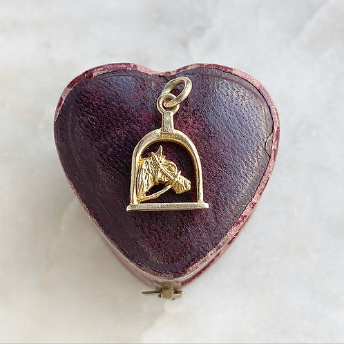 Vintage 9ct gold horse and stirrup charm