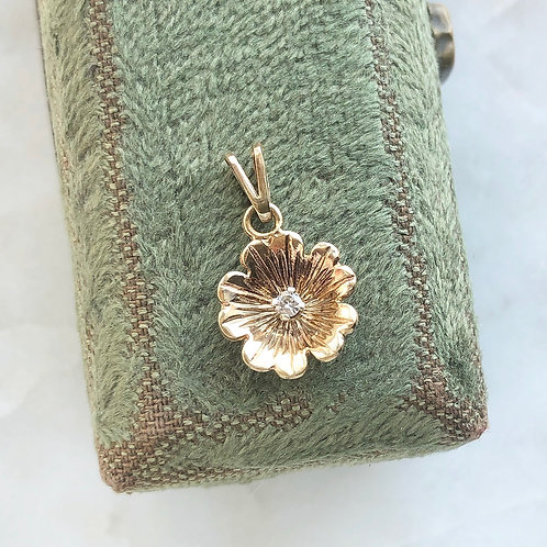Vintage, 1978 9ct gold and diamond flower charm