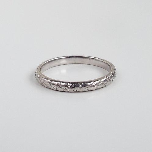 Antique platinum floral engraved band
