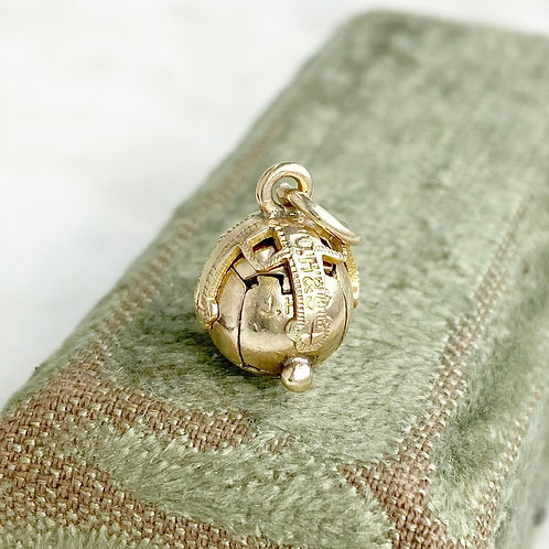 Vintage miniature 9ct gold over silver Masonic orb/ball charm