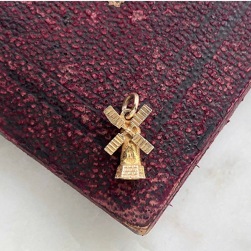 Vintage 9ct gold windmill charm