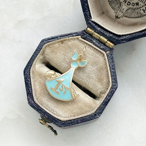 Vintage 9ct gold and enamel first baby charm