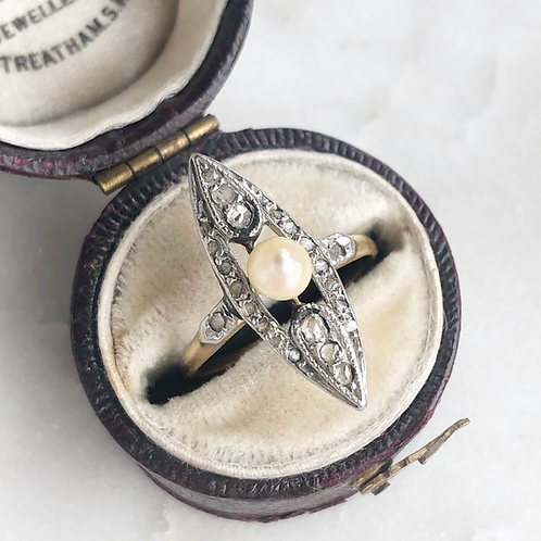 Antique gold diamond and pearl navette ring