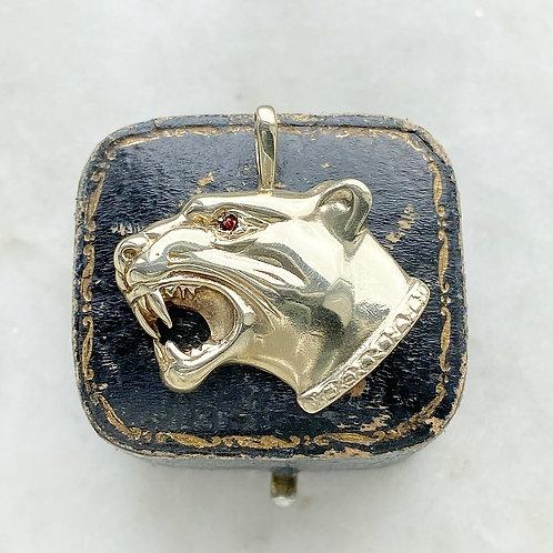 Vintage 1993 9ct gold and garnet big cat pendant