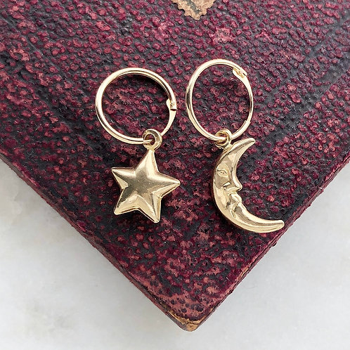 Vintage gold moon and star charm hoops