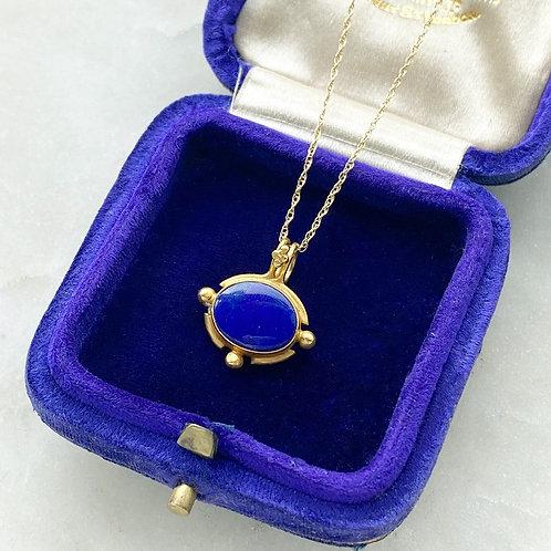 Vintage 18ct gold & lapis lazuli pendant with 14ct gold chain