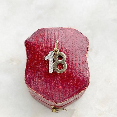 Vintage 9ct gold and diamond 18 charm