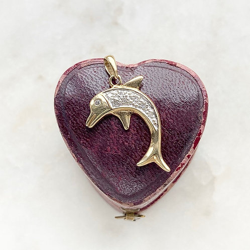 Vintage 9ct gold and diamond dolphin charm