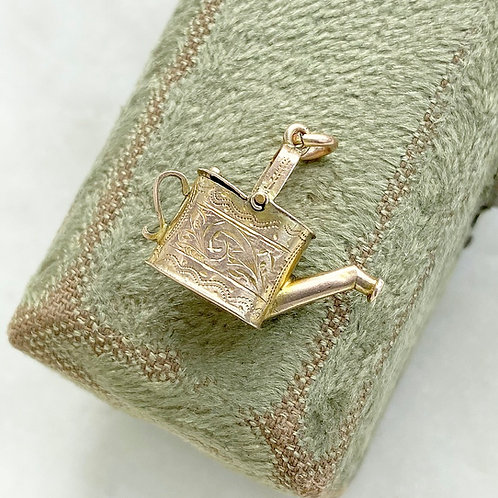 Vintage 9ct gold opening watering can charm
