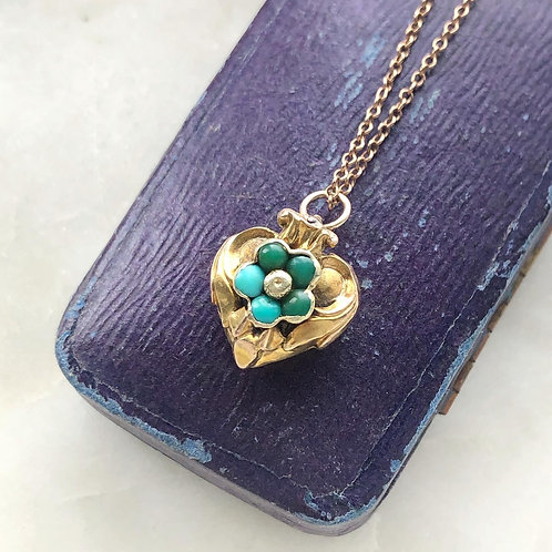 Layaway deposit listing for antique turquoise & gold forget me not heart locket