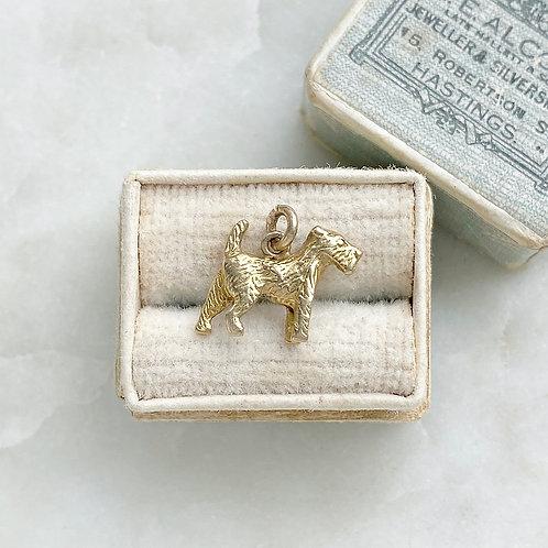 Vintage 9ct solid gold terrier dog charm