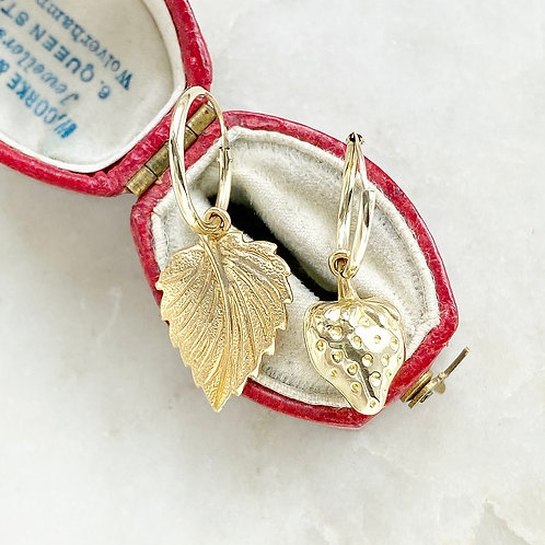 Vintage gold strawberry and leaf charm hoops