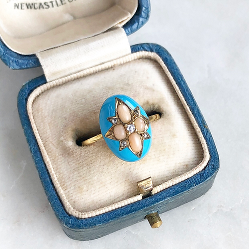 Antique blue enamel, gold, diamond and coral ring