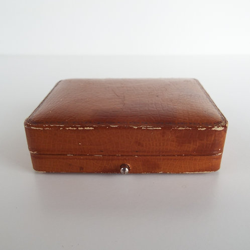 Antique brown small leather jewellery box Chiswick/Hammersmith