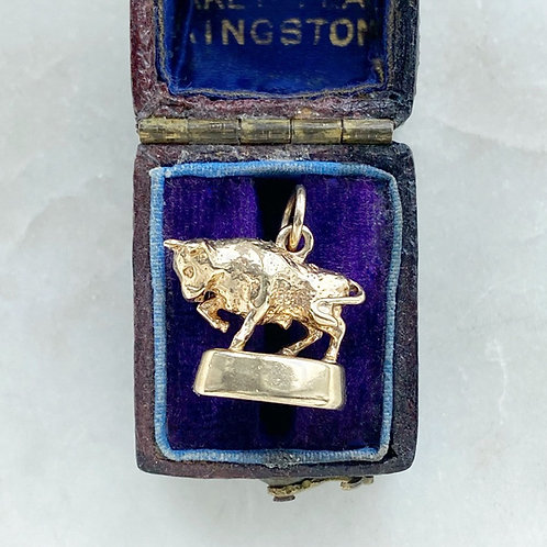 Vintage 1976 9ct gold bull Taurus charm
