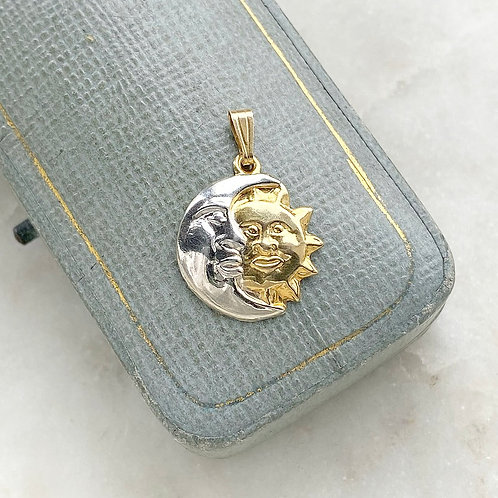 Vintage 9ct yellow and white gold sun and moon charm