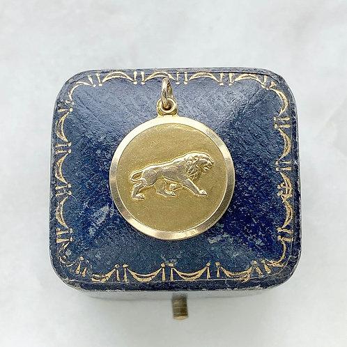 Vintage 1961 9ct gold Leo lion medallion charm