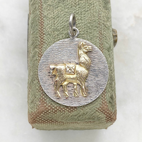 Vintage sterling silver and gold llama pendant