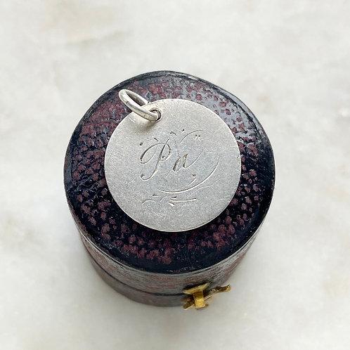 Antique, Victorian 1885 silver 'Pa' hand engraved love token pendant