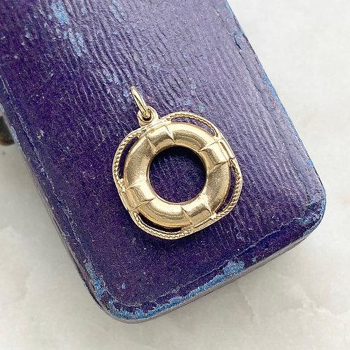 Vintage 1961 9ct gold lifebuoy ring charm