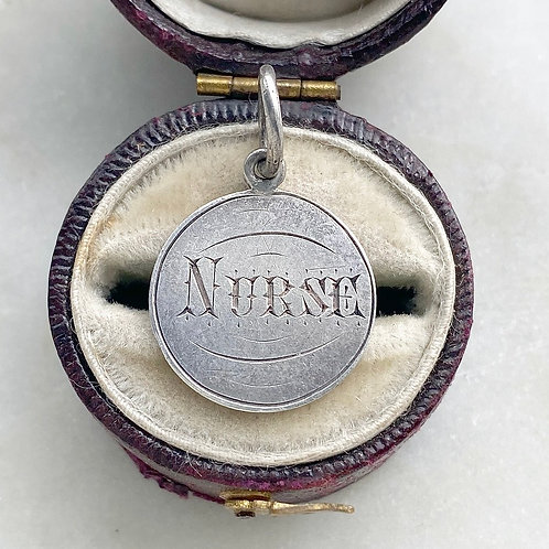 Antique, Victorian silver Nurse hand engraved love token pendant