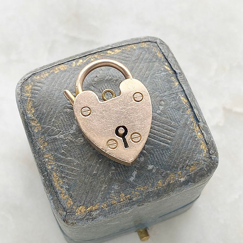 Antique large 9ct rose gold heart padlock