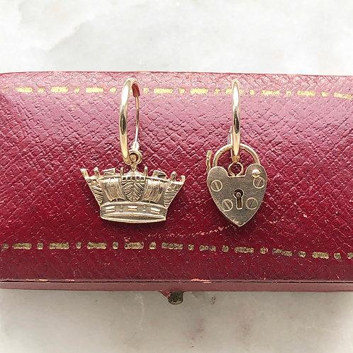 Vintage gold crown and padlock charm hoops