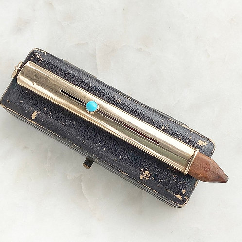 Antique Edwardian 1906 9ct gold and turquoise pencil pendant