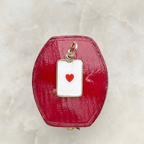 Vintage 9ct gold and enamel heart playing card charm