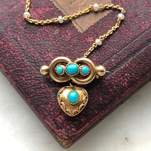 Antique gold and turquoise infinity knot and heart brooch