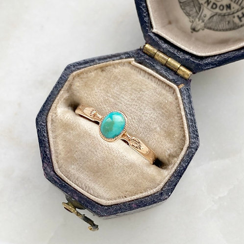 Antique 9ct gold and turquoise ring