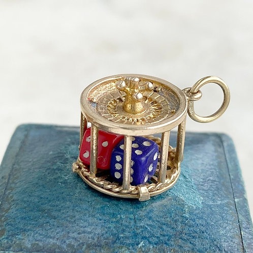 Vintage 1966 9ct gold roulette wheel charm with moving dice