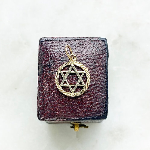 Vintage 9ct gold hexagram six pointed star charm
