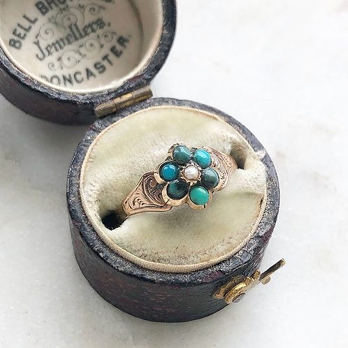 Antique Victorian forget me not turquoise and seed pearl flower ring