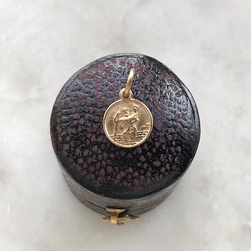 Vintage 9ct gold tiny St Christopher medallion charm