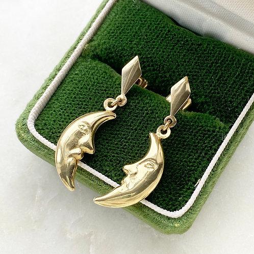 Vintage 9ct gold man in the moon drop earrings