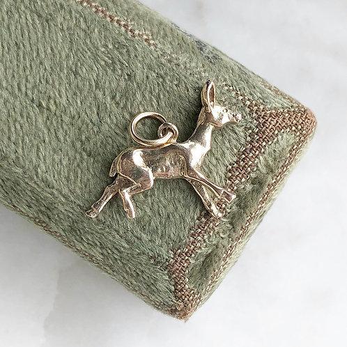 Vintage solid gold deer charm