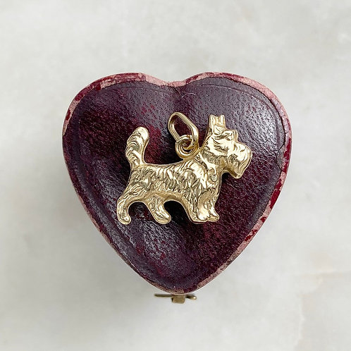 Vintage 9ct gold terrier dog charm