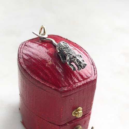 Vintage silver and gold rat charm