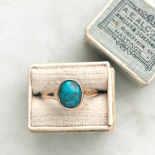 Antique 9ct rose gold turquoise ring