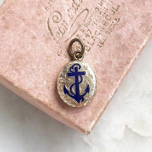 Antique rolled gold and enamel anchor locket