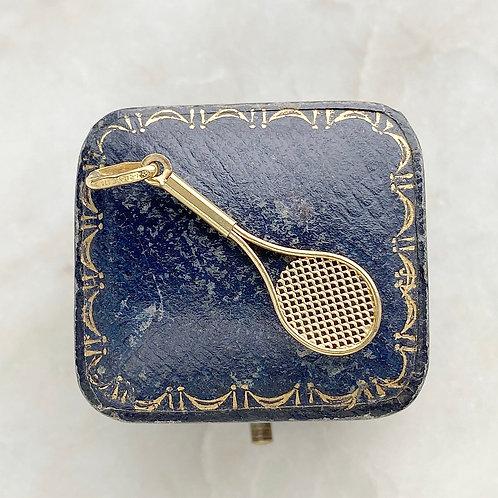Vintage 9ct gold tennis racket charm